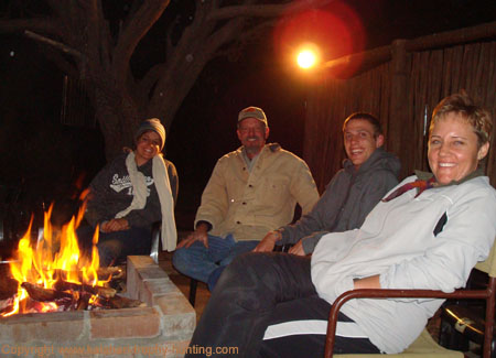 Smith family around fire