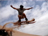 Sand boarding on Namibia's sand dunes!