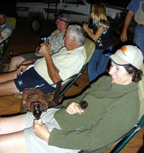 Nancy relaxing in the Kalahari